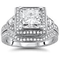 Noori 14k White Gold 1 2/5ct Princess-cut Diamond Bridal Set