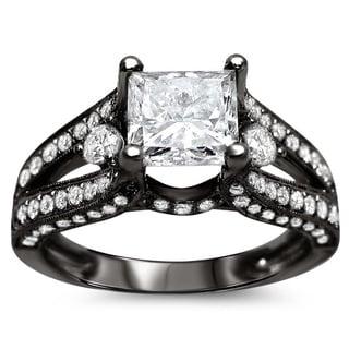 Noori 18k Black Gold 2 ct TDW Certified Princess-cut Enhanced Diamond Engagement Ring (G-H, SI1-SI2)
