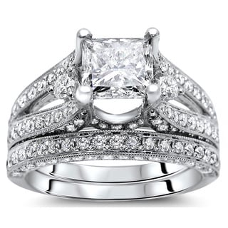 Noori 18k White Gold 2 3/5 ct Princess Diamond Bridal Set (G-H, SI1-SI2)
