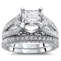Noori 18k White Gold 2 3/5 ct Princess Diamond Bridal Set