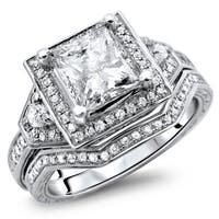 Noori 14k White Gold 1 2/5ct TDW Certified Princess Cut Halo Enhanced Diamond Bridal Set