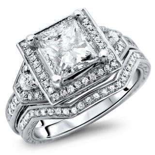 Noori 14k White Gold 1 2/5ct TDW Certified Princess Cut Halo Enhanced Diamond Bridal Set