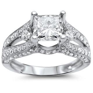 Noori 18k White Gold 2 ct TDW Certified Princess-cut Diamond Engagement Ring