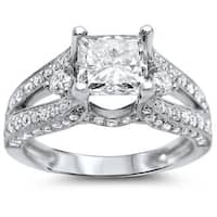 Noori 18k White Gold 2 ct TDW Certified Princess-cut Diamond Engagement Ring