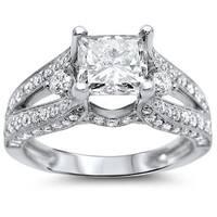 Noori 18k White Gold 2ct TDW Diamond Certified Enhanced Engagement Ring