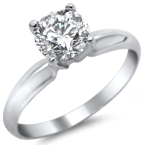 Noori 14k White Gold 1/2ct TDW Round Solitaire Diamond Engagement Ring (G-H, SI1-SI2)