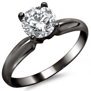 Noori 14k Black Gold 1/2ct TDW Round Solitaire Diamond Engagement Ring