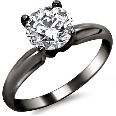 Noori 14k Black Gold 3/4ct TDW Round Solitaire Diamond Engagement Ring