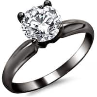 Noori 14k Black Gold 3/4ct TDW Round Solitaire Diamond Engagement Ring
