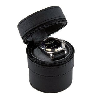 Heiden 'Travelers' Black Leather Cylindrical Watch Case