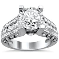 Noori 18k White Gold 2 1/10ct TDW Certified Clarity-Enhanced Diamond Engagement Ring