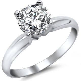 Noori 14k White Gold 3/4ct Round Solitaire Diamond Engagement Ring