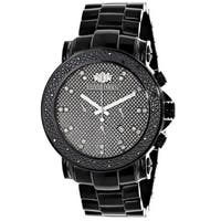 Luxurman Men's Oversized 0.25ct Black Diamond Watch Metal Band plus Extra Leather Straps