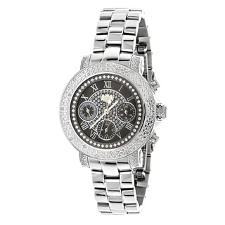 Luxurman Women's 1/3ct Stainless Steel Diamond Watch Metal Band plus Extra Leather Straps