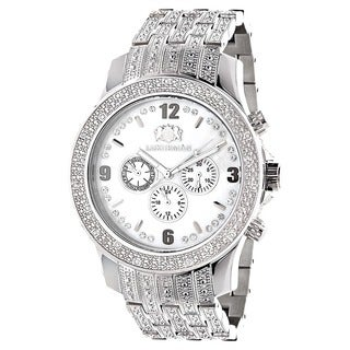 Luxurman Men's 1ct White Diamond Band Watch