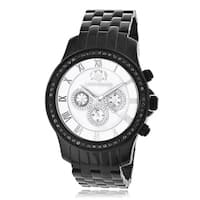 Luxurman Men's 2 1/4ct Black Diamond Stainless Steel Watch Metal Band plus Extra Leather Straps