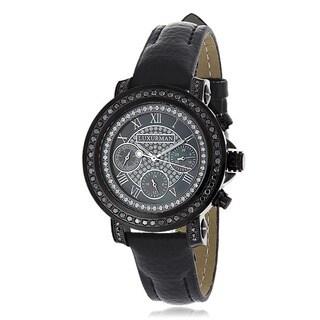 Luxurman Women's Black Stainless Steel 2 1/6ct TDW Diamond Watch Metal Band plus Extra Leather Strap