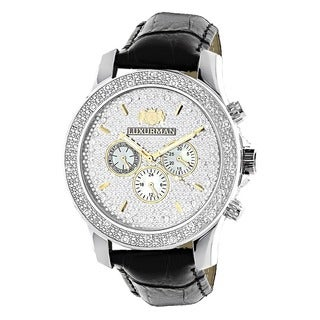 Luxurman Men's 1/4ct Diamond Black Leather Band Watch with Two Extra Leather Straps