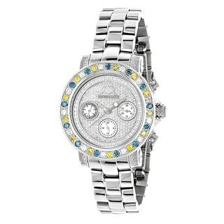 Luxurman Women's Stainless Steel 2 3/4ct Color Diamond Watch
