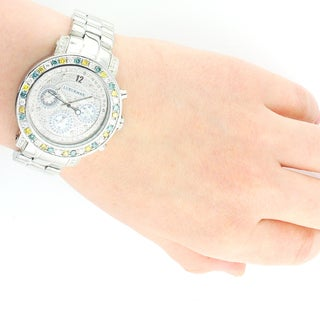 Luxurman Women's 2.75ct White Blue Yellow Diamond Watch