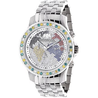 Luxurman Men's 3 1/2ct White, Yellow, Blue Diamond Stainless Steel Watch with Metal Band and Extra L