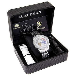 Luxurman Men's 1/5ct Diamond Color World Map Watch with Metal Band and Extra Leather Straps