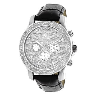 Luxurman Men's 1/4ct White Diamond Black Watch with Leather Strap Set