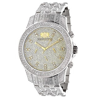 Luxurman Men's 1 1/4ct White Diamond Stainless Steel Watch with Extra Leather Straps
