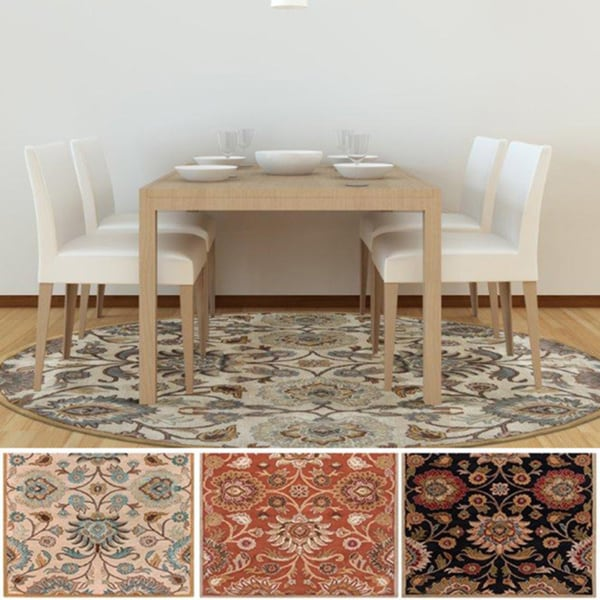 Round Table Alameda.Shop Hand Tufted Alameda Traditional Floral Wool Area Rug 8 Round