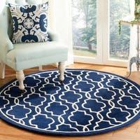Safavieh Handmade Moroccan Chatham Dark Blue/ Ivory Wool Rug - 5' x 5' round