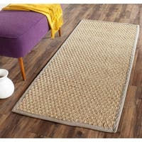 Safavieh Casual Natural Fiber Natural and Grey Border Seagrass Runner (2'6 x 6') - 2'6 x 6'
