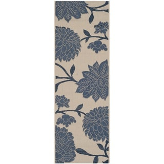 Safavieh Indoor/ Outdoor Courtyard Beige/ Blue Rug (2'3 x 6'7)