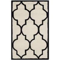 Safavieh Handmade Moroccan Cambridge Ivory/ Black Wool Rug - 2'6 x 4'