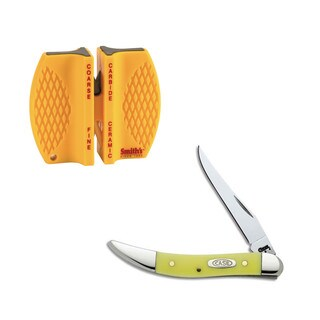 Case Cutlery Small Texas Toothpick Synthetic Yellow Knife and Sharpener