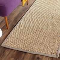 "Safavieh Casual Natural Fiber Natural / Grey Seagrass Rug - 2'6"" x 8'"