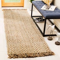 "Safavieh Natural Fiber Hand-Woven Chevron Off-White/ Natural Brown Jute Rug - 2'6"" x 8'"