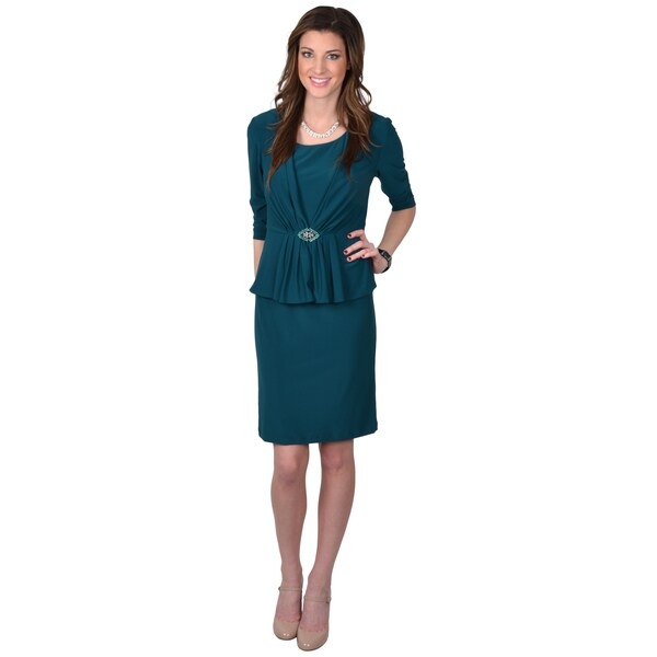 Jessica Howard Women's Three-quarter Sleeve 2-piece Peplum Dress
