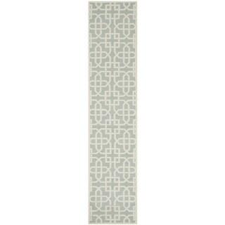 Safavieh Hand-hooked Newport Light Blue/ White Cotton Rug (2'3 x 10')