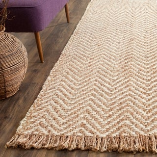 Safavieh Natural Fiber Hand-Woven Chevron Off-White/ Natural Brown Jute Rug - 2'6 x 12'