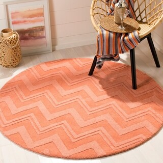 Safavieh Handmade Impressions Peach Wool Rug - 5' Round