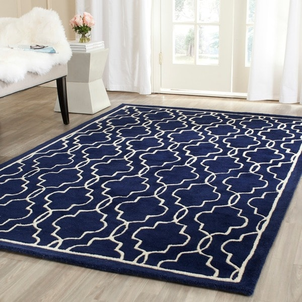 Safavieh Moroccan Blue And Black Area Rug: Shop Safavieh Handmade Moroccan Chatham Dark Blue/ Ivory