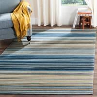Safavieh Hand-woven Marbella Blue/ Multi Striped Nautical Wool Rug - 6' x 9'