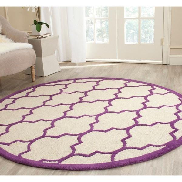 Purple Circle Rugs: Safavieh Handmade Moroccan Cambridge Ivory/ Purple Wool
