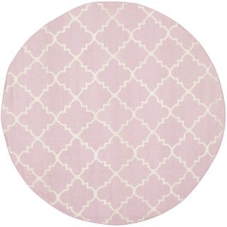 Safavieh Hand-woven Moroccan Reversible Dhurries Pink/ Ivory Wool Rug (6' Round)