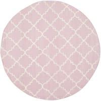 Safavieh Hand-woven Moroccan Reversible Dhurries Pink/ Ivory Wool Rug - 6' Round