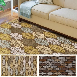Hand-woven Damask Fremont Contemporary Abstract Area Rug (5'2 x 7'6)