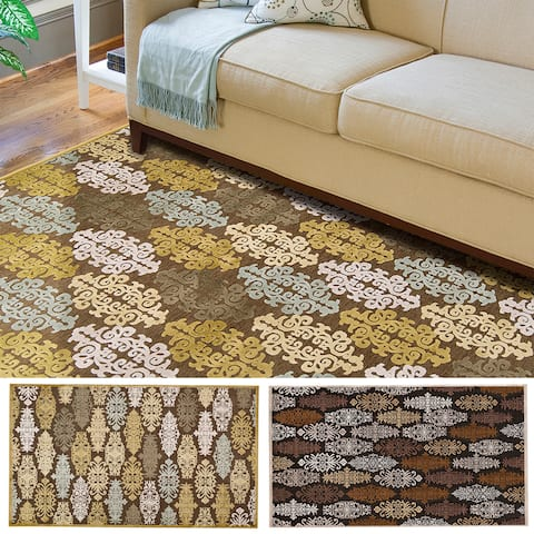 Hand-woven Damask Fremont Contemporary Abstract Area Rug