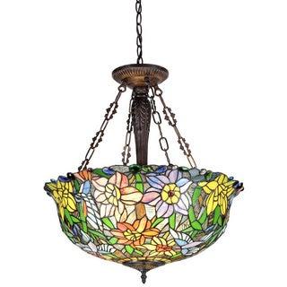 Tiffany Style 3-light Floral Design Inverted Pendant