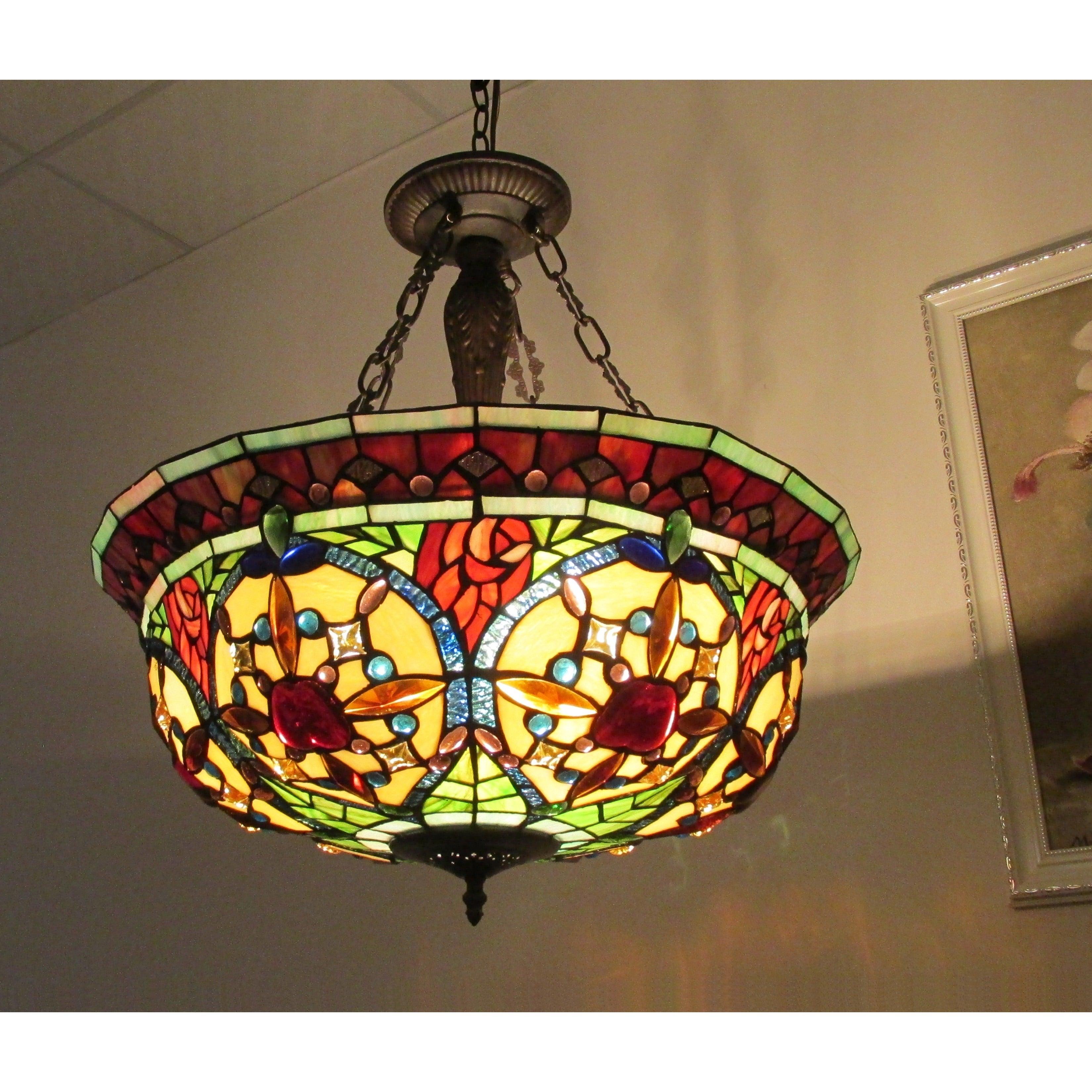 Shop Black Friday Deals On Tiffany Style 3 Light Floral Motif Inverted Pendant Overstock 8757617