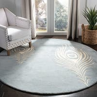 Safavieh Handmade Soho Light Blue/ Ivory New Zealand Wool/ Viscose Rug - 6' Round